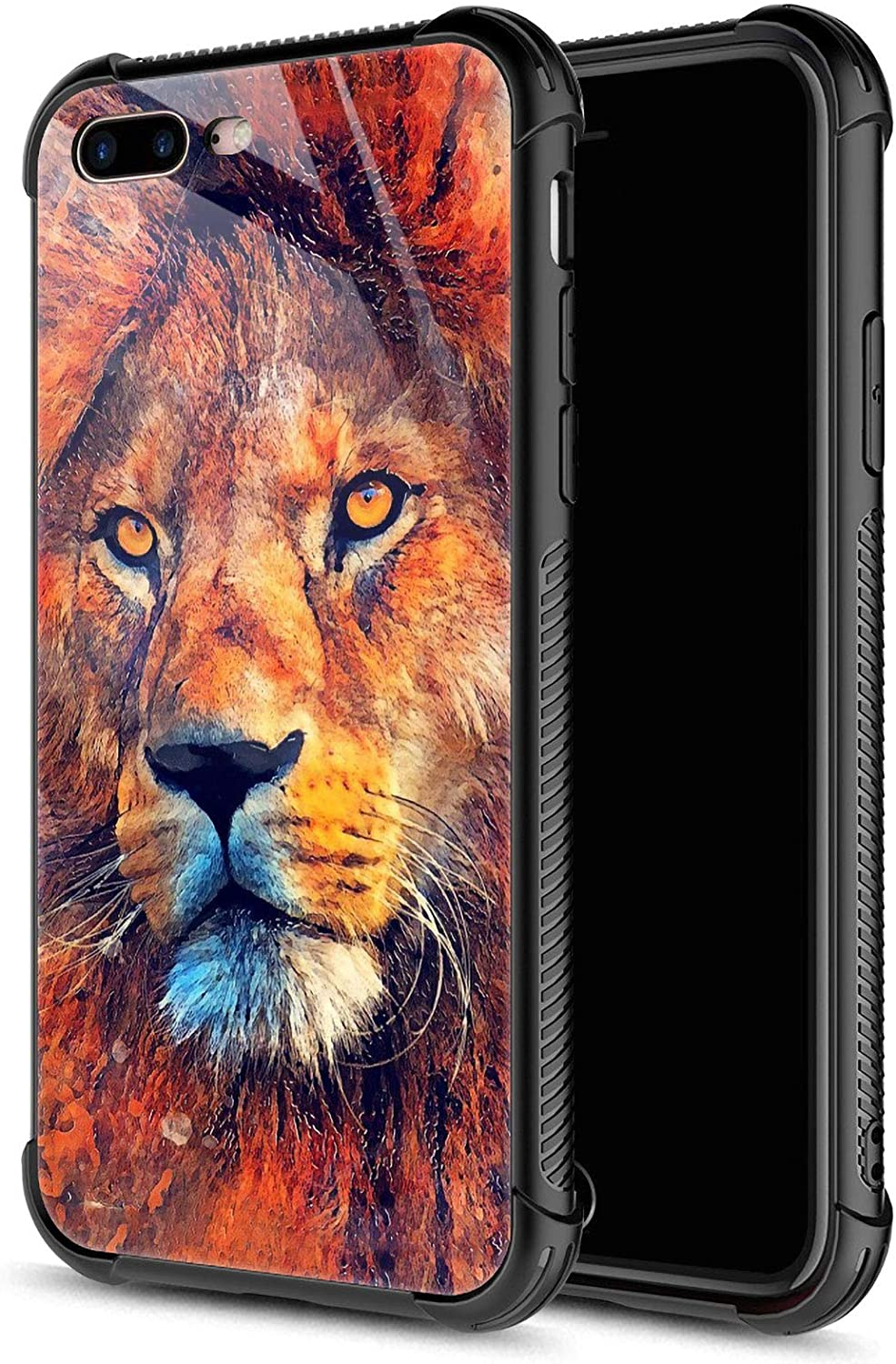 CARLOCA iPhone 8 Plus Case,Oil Painting Lion iPhone 7 Plus Cases for Girls Boys,Graphic Design Shockproof Anti-Scratch Drop Protection Case for Apple iPhone 7/8 Plus