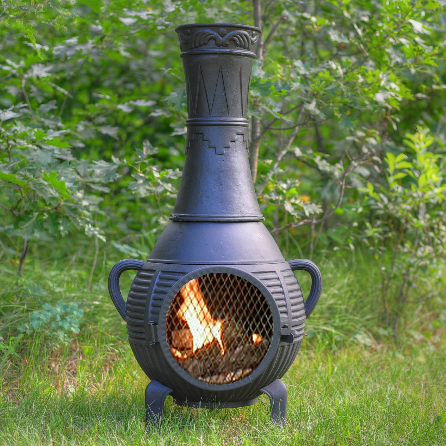 The Blue Rooster Co. Pine Style Cast Aluminum Wood Burning Chiminea in Charcoal.
