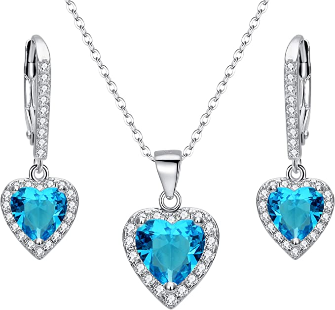 EleQueen 925 Sterling Silver Cubic Zirconia Love Heart Bridal Pendant Necklace Leverback Earrings Set Sapphire Color