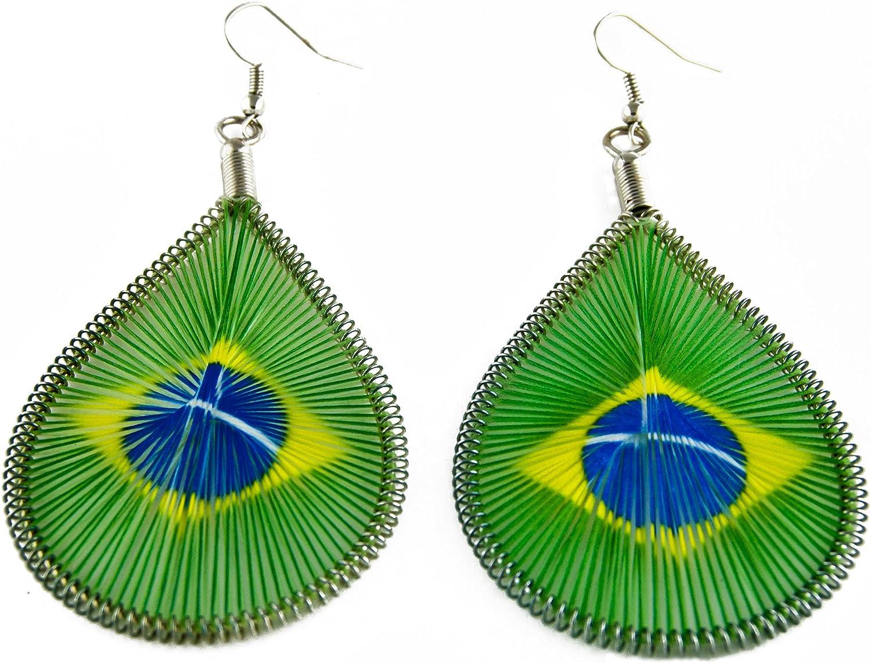 Pendientes bandera de Brasil: Amazon.es: Joyería