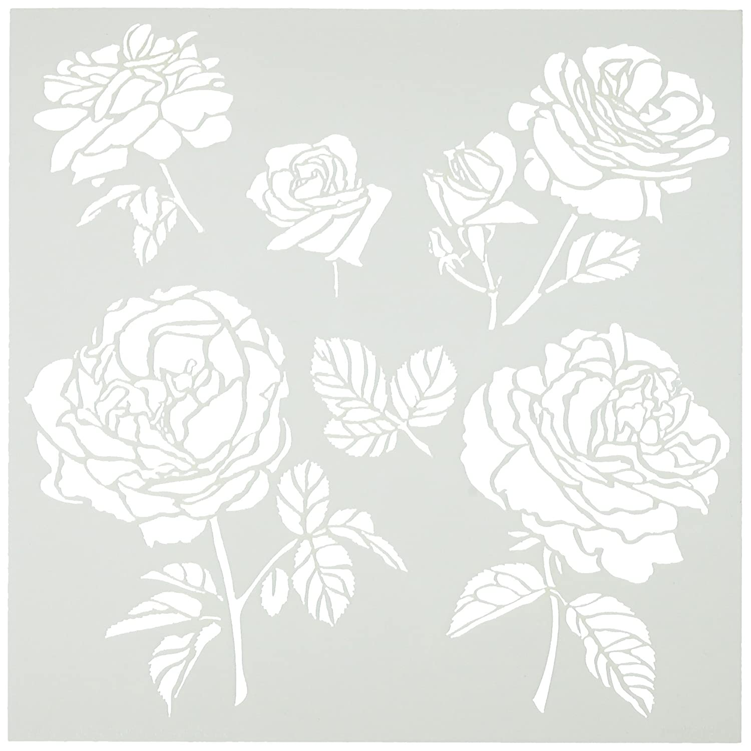 Crafters Workshop Plastic Template 6-inch x 6-inch Cabbage Roses TCW6X6-514