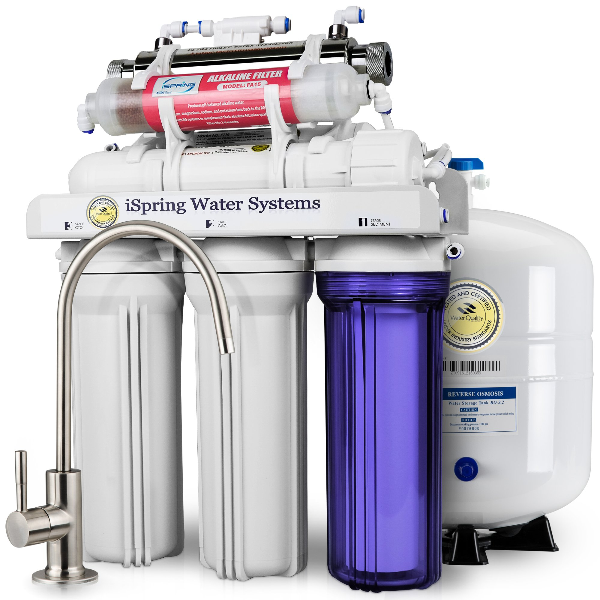 iSpring RCC7AK-UV 7-Stage Under-Sink Reverse Osmosis Drinking Water Filtration System with Alkaline Remineralization Filter and UV Sterilizer - 75 GPD