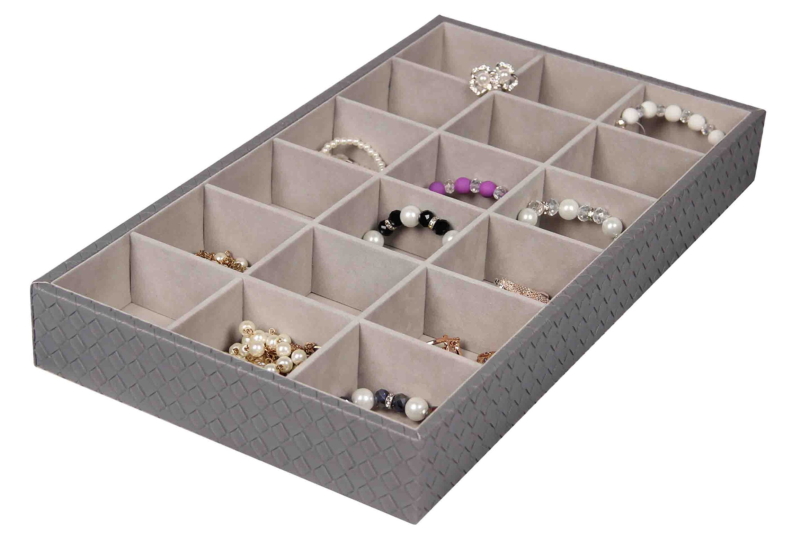 Home Basics Sectional Faux Leather Charcoal Grey Jewelry Organizer (18 Compartment)
