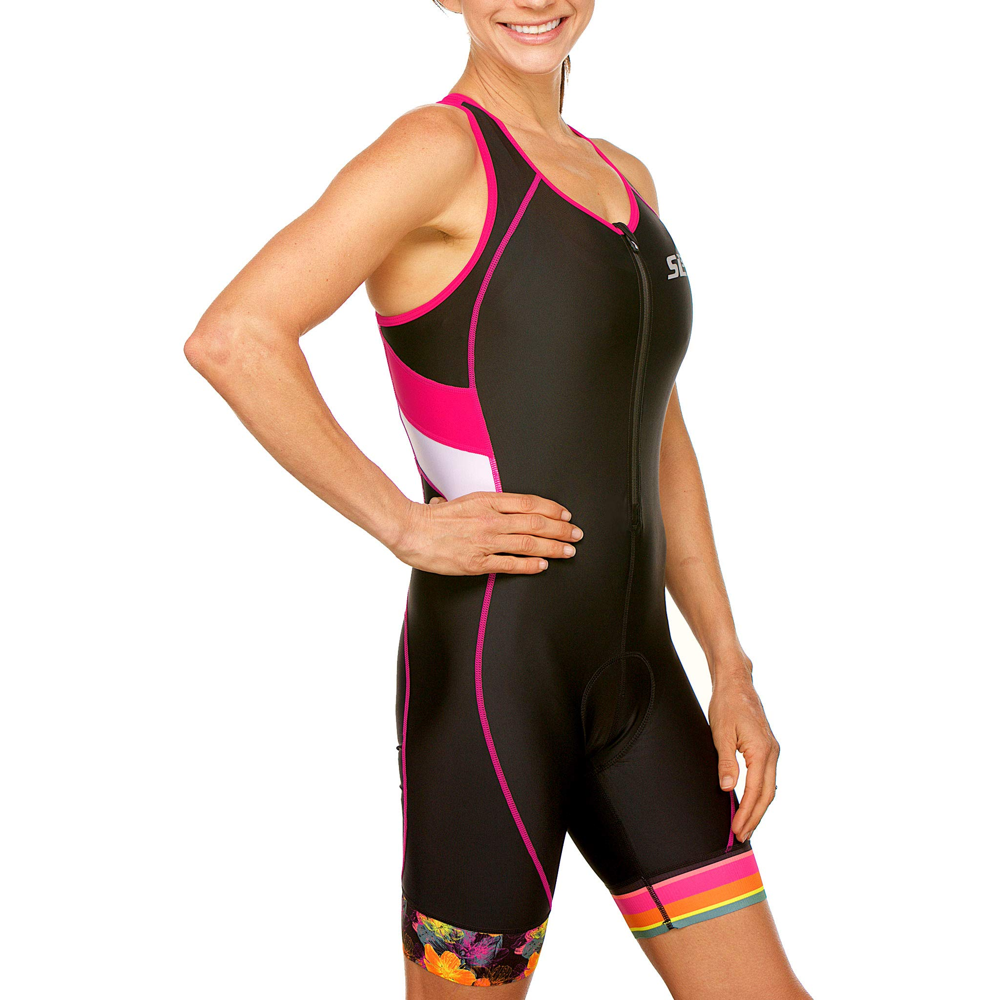 SLS3 Women`s Triathlon Suit FX | Womens Trisuits | 1 Pocket Triathlon Gear Suits Women | Anti-Friction Seams Womens Tri Suit | German Designed (Black/Bright Rose, M) by SLS3 (Image #4)