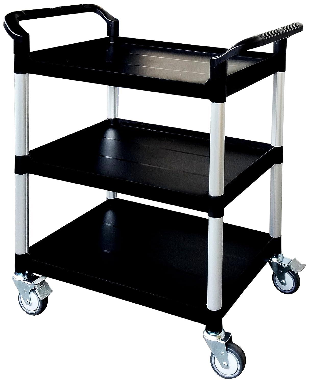 Tool Trolley black capacity: 250 kg Shelf Cart Plastic Utility Cart Heavy Duty Truck 3 shelves WxDxH: 85 x 48 x 100 cm T-EQUIP Service Cart PSC-130