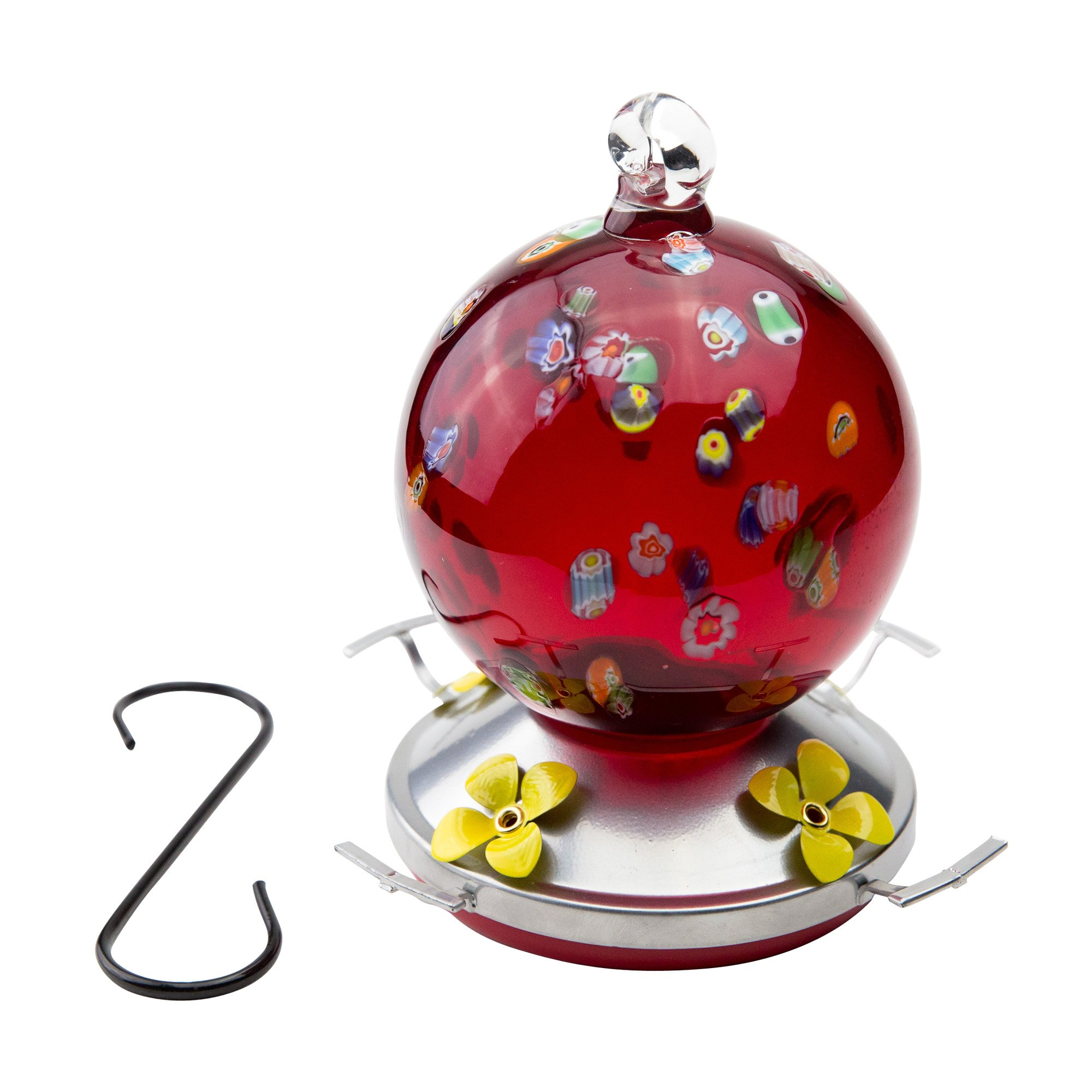 Best Home Products Hummingbird Feeder, Blown Glass, Cherry Cheer, 3 Cups