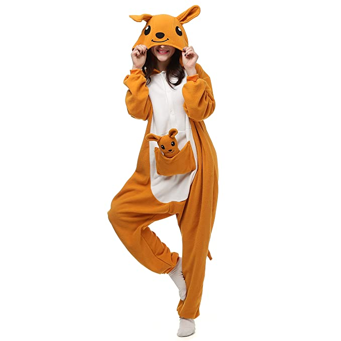 389181a0f4b6 Amazon.com  VU ROUL Unisex Australia Animal Kangaroo Onesie Adult Pajamas  Orange  Clothing