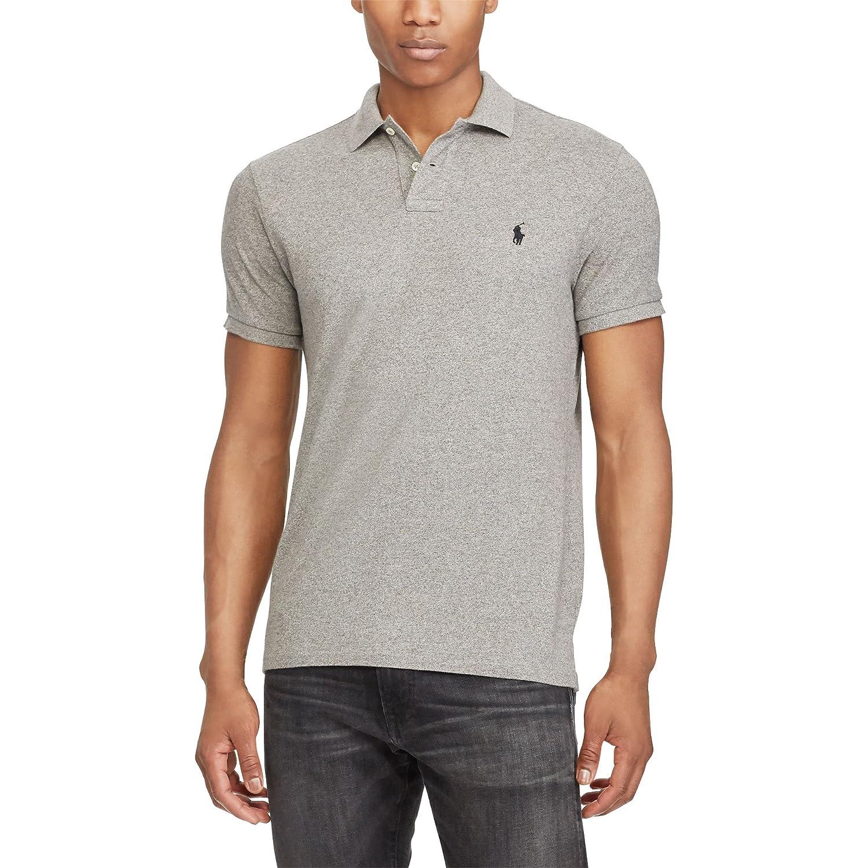 Polo Ralph Lauren Custom Slim Fit Mesh Mens Polo Shirt Light Gray