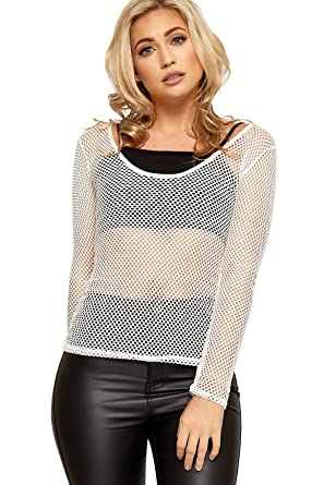 3bed17afe60 WearAll Women s Fishnet Mesh Top Ladies Long Sleeve Scoop Neck Plain  Stretch New 8-14  Amazon.co.uk  Clothing