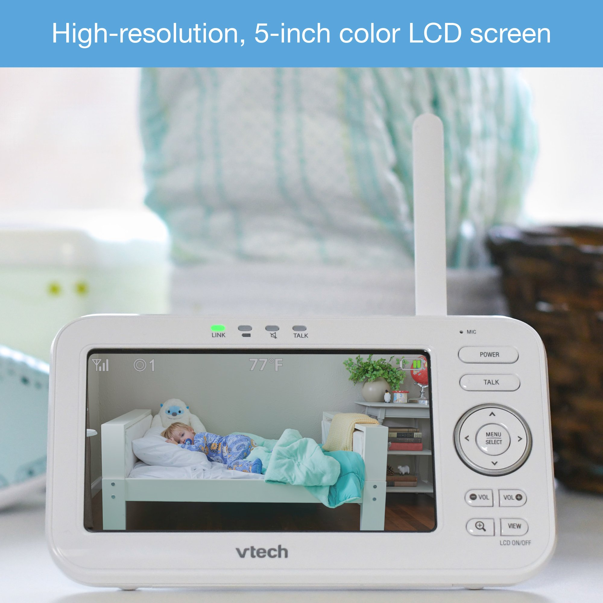 "VTech VM5261 5"" Digital Video Baby Monitor with Pan & Tilt Camera, Wide-Angle Lens and Standard Lens, White by VTech (Image #5)"