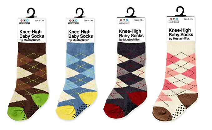 8d820898a Mustachifier Knee-High Baby Argyle Socks - Set of Blue Yellow