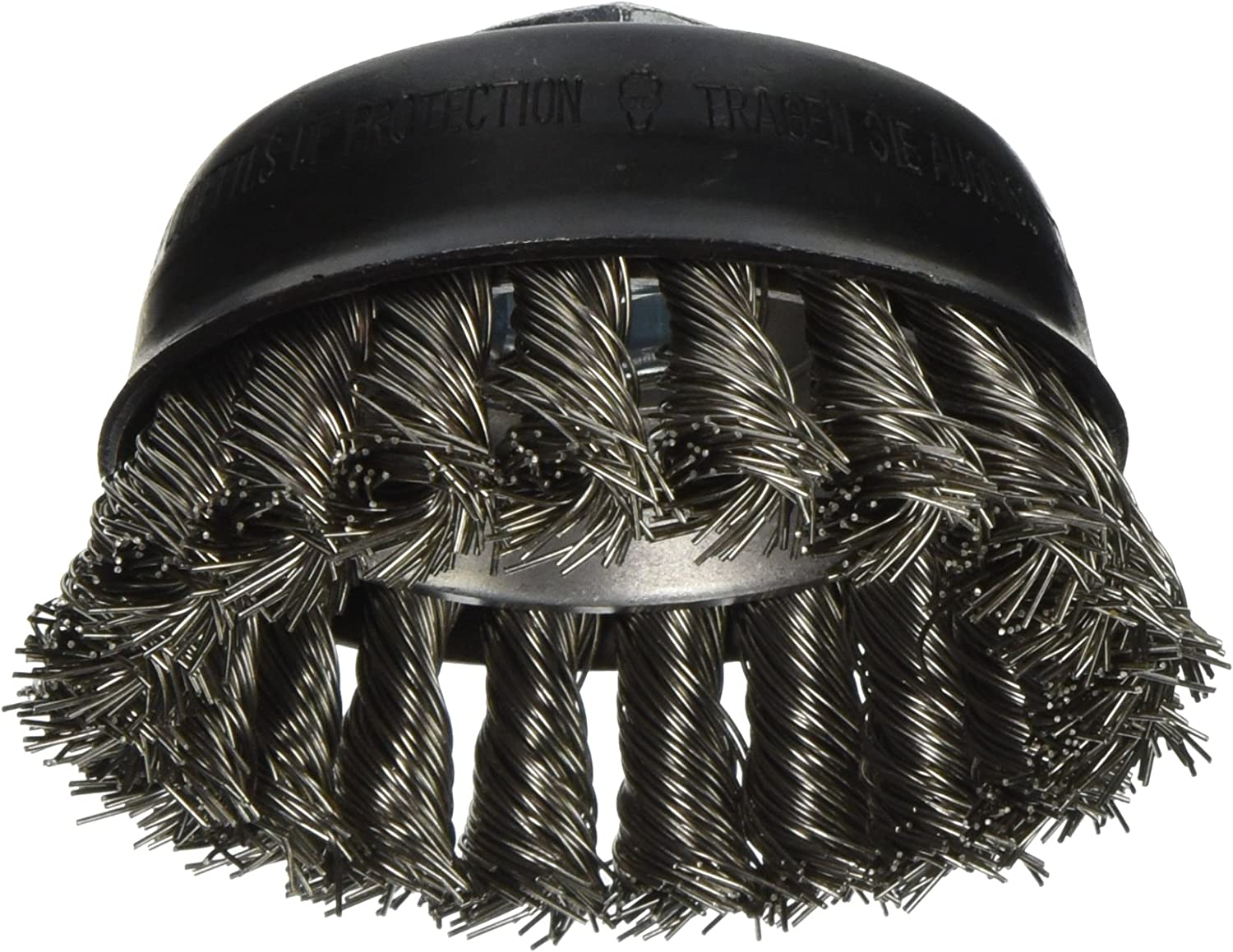 Bosch WB504 3-Inch Cup Brush, Knotted, Stainless Steel, 5/8-Inch x 11 Thread Arbor
