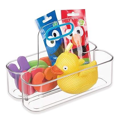 InterDesign IDjr Caja con asa con 2 divisiones, organizador de plástico pequeño para alimento de
