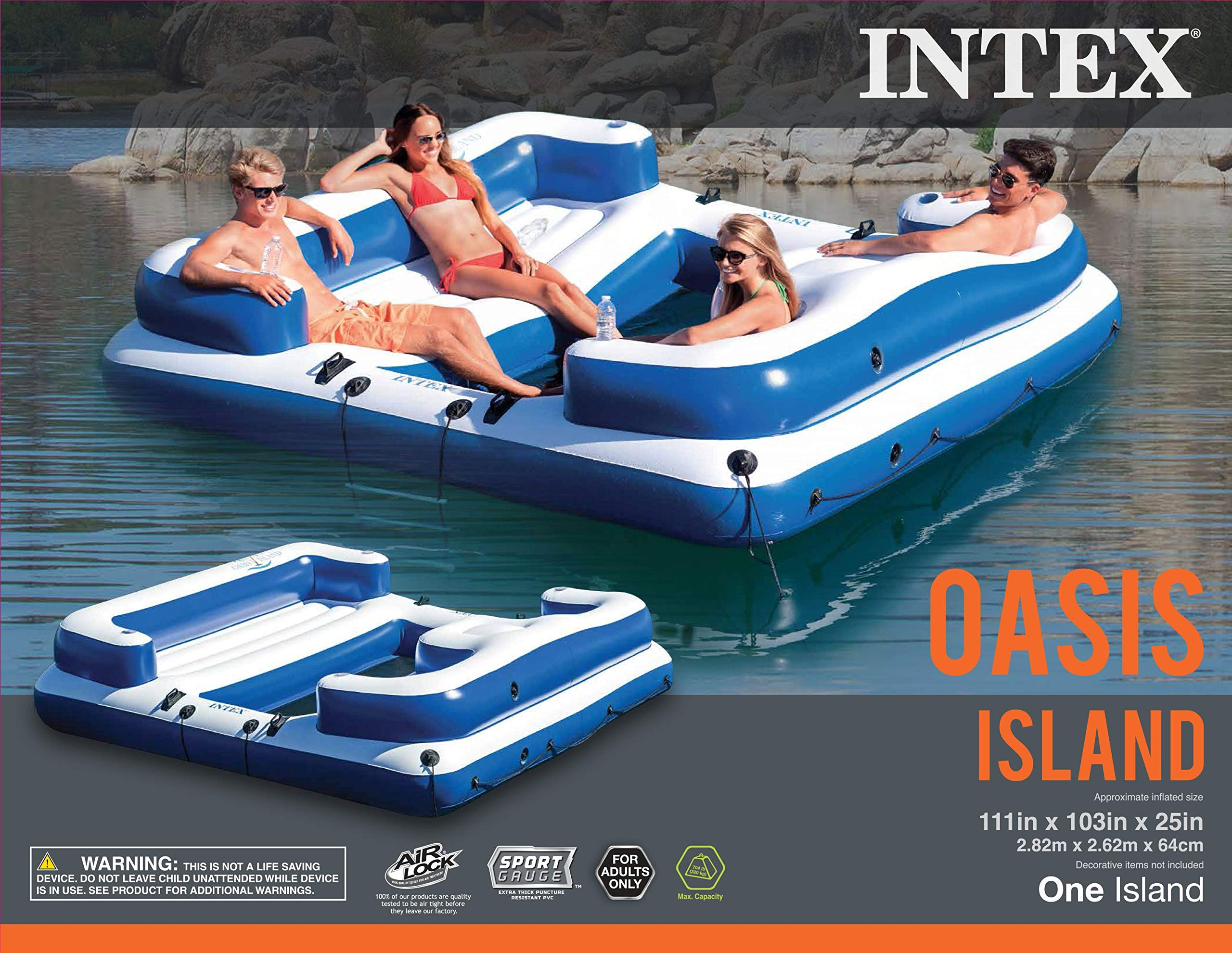 Intex Oasis Island Inflatable Giant 5 Person Lake Floating Lounge Raft (2 Pack) by Intex (Image #8)