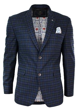 Veste Blazer ou Gilet Homme Tweed Bleu à Carreaux Coupe cintrée Slim Style Vintage  rétro  Amazon.fr  Vêtements et accessoires da09461b7be