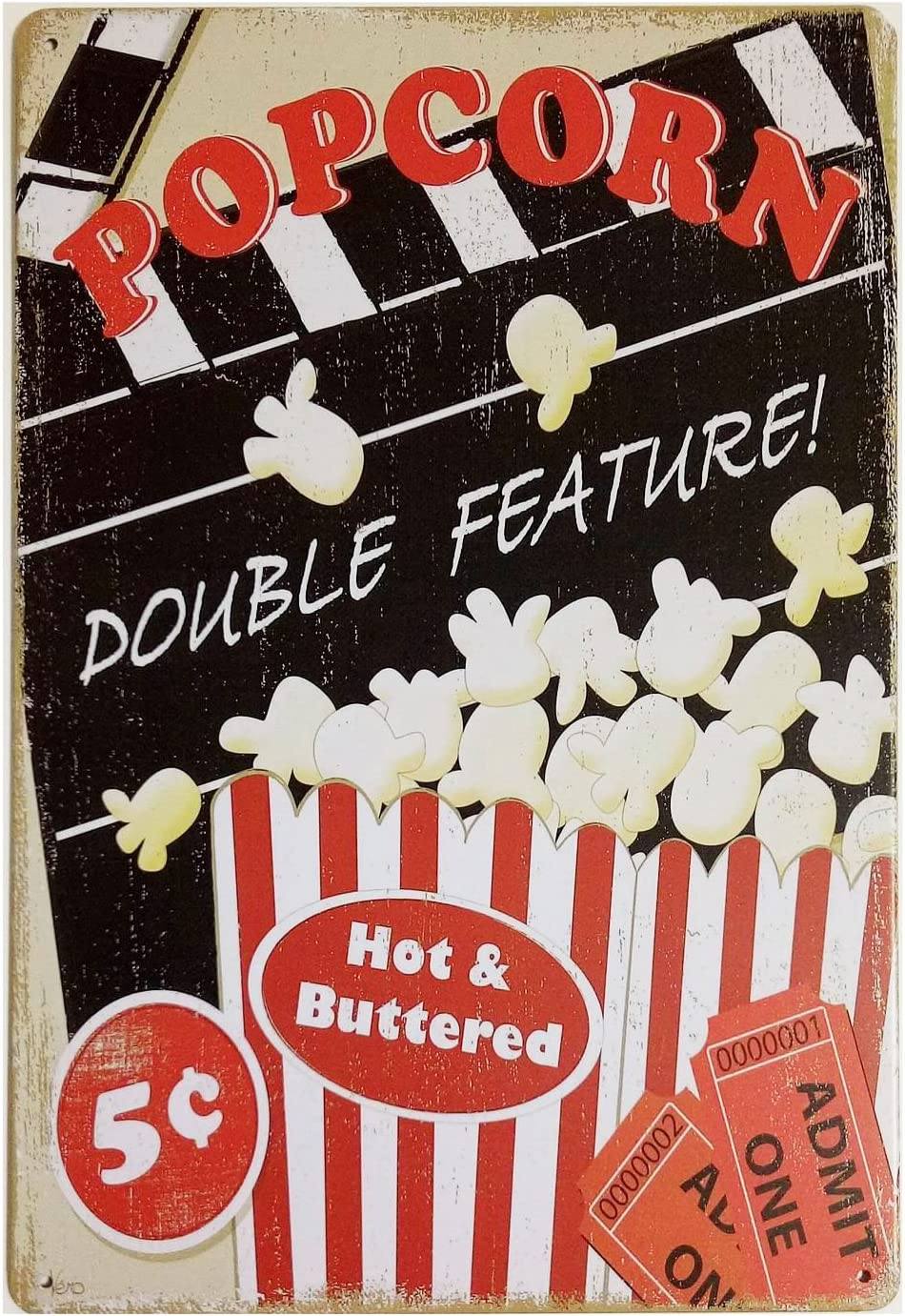ERLOOD Popcorn Double Feature Hot&Buttered Retro Vintage Decor Metal Tin Sign 12 X8 Inches