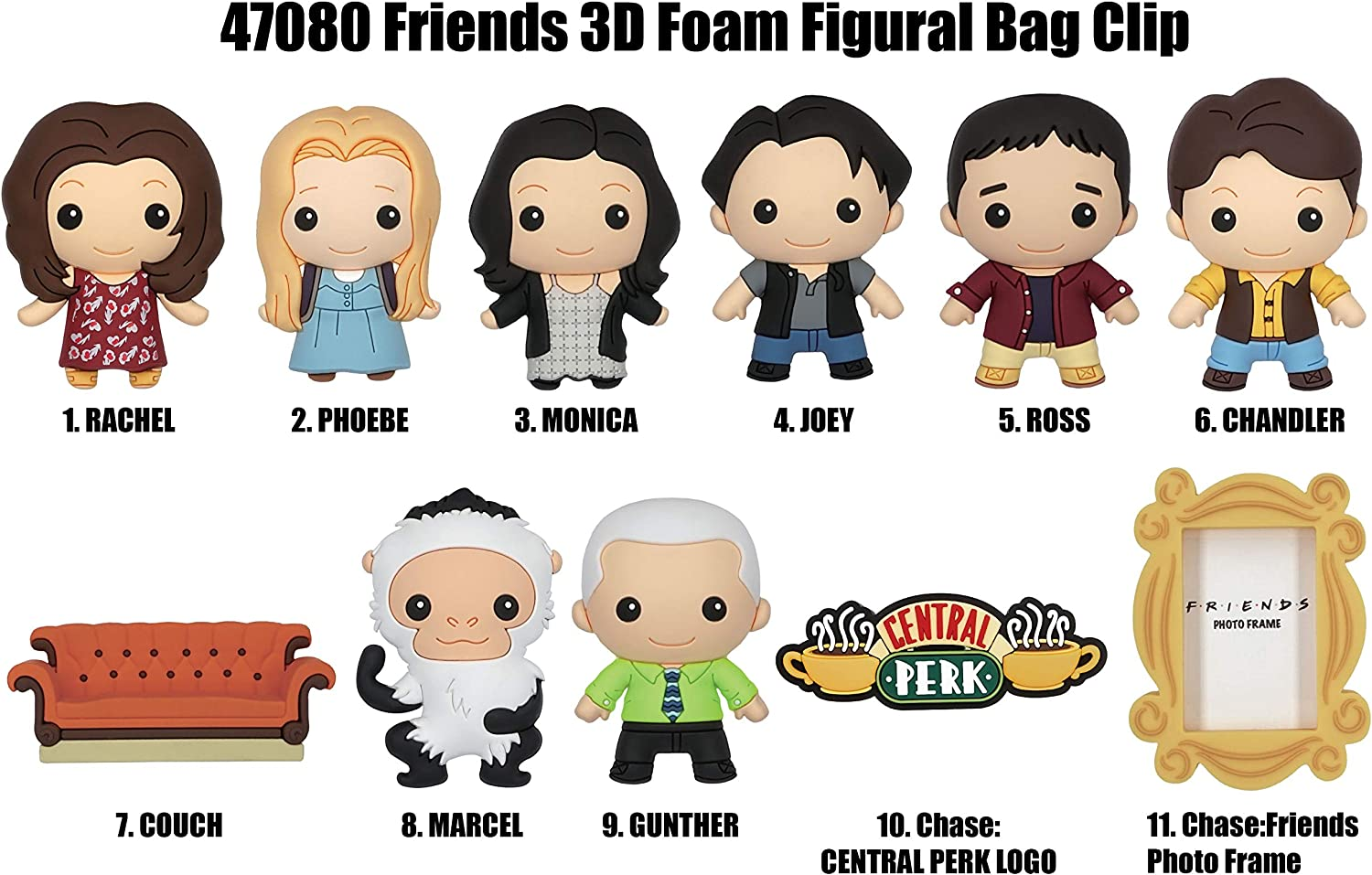 1 Random Monogram Friends Figural Foam Porte-cl/és