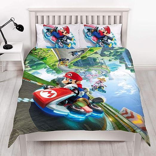 Super Mario Kart Nintendo - Funda de edredón Doble, diseño de Gravedad Reversible de Dos Caras con Funda de Almohada a Juego, Multicolor: Amazon.es: Hogar