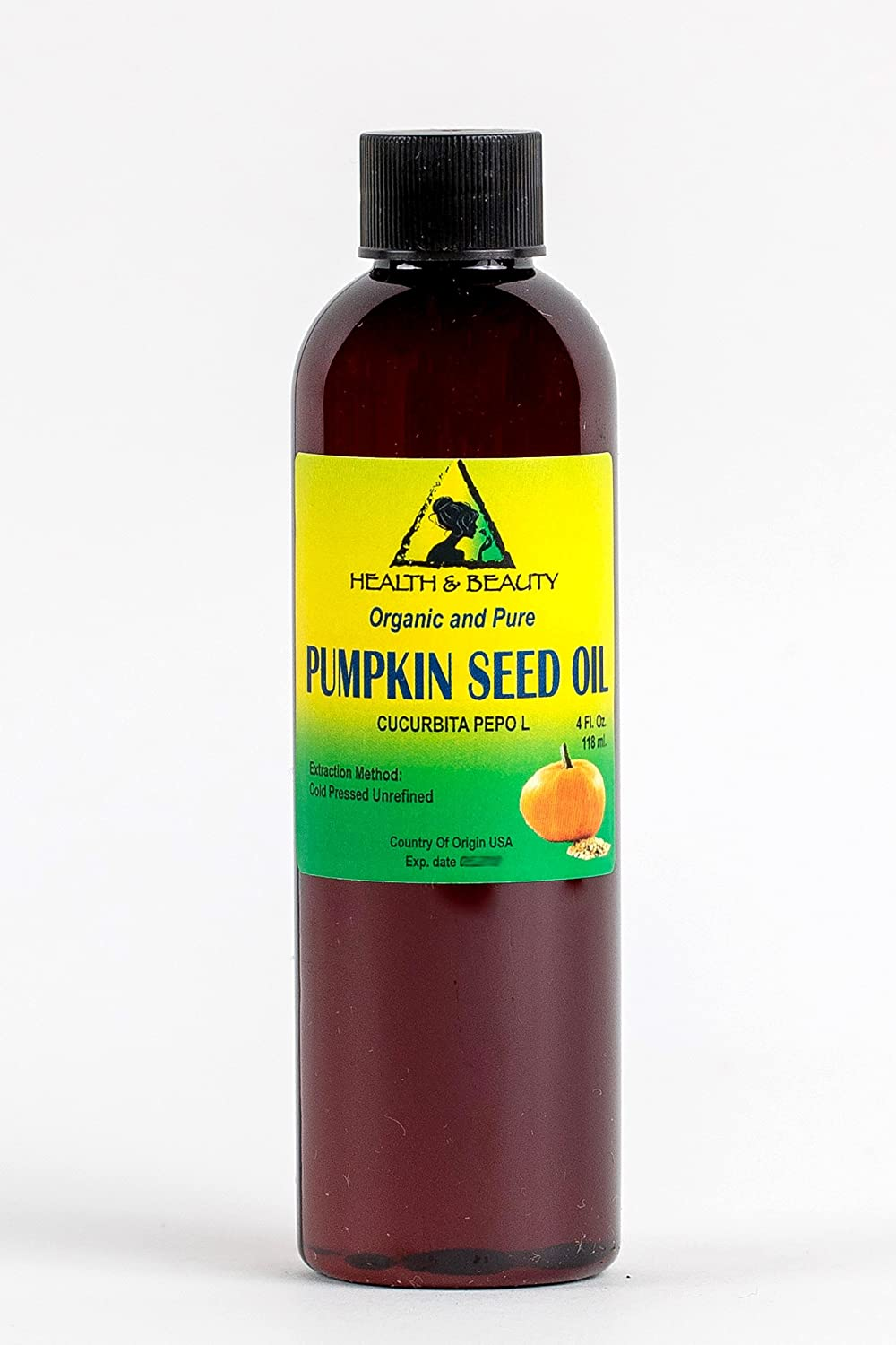 Pumpkin Seed Oil Unrefined Organic Carrier Cold Pressed Pure 4 oz, 118 ml H&B OILS CENTER Co.