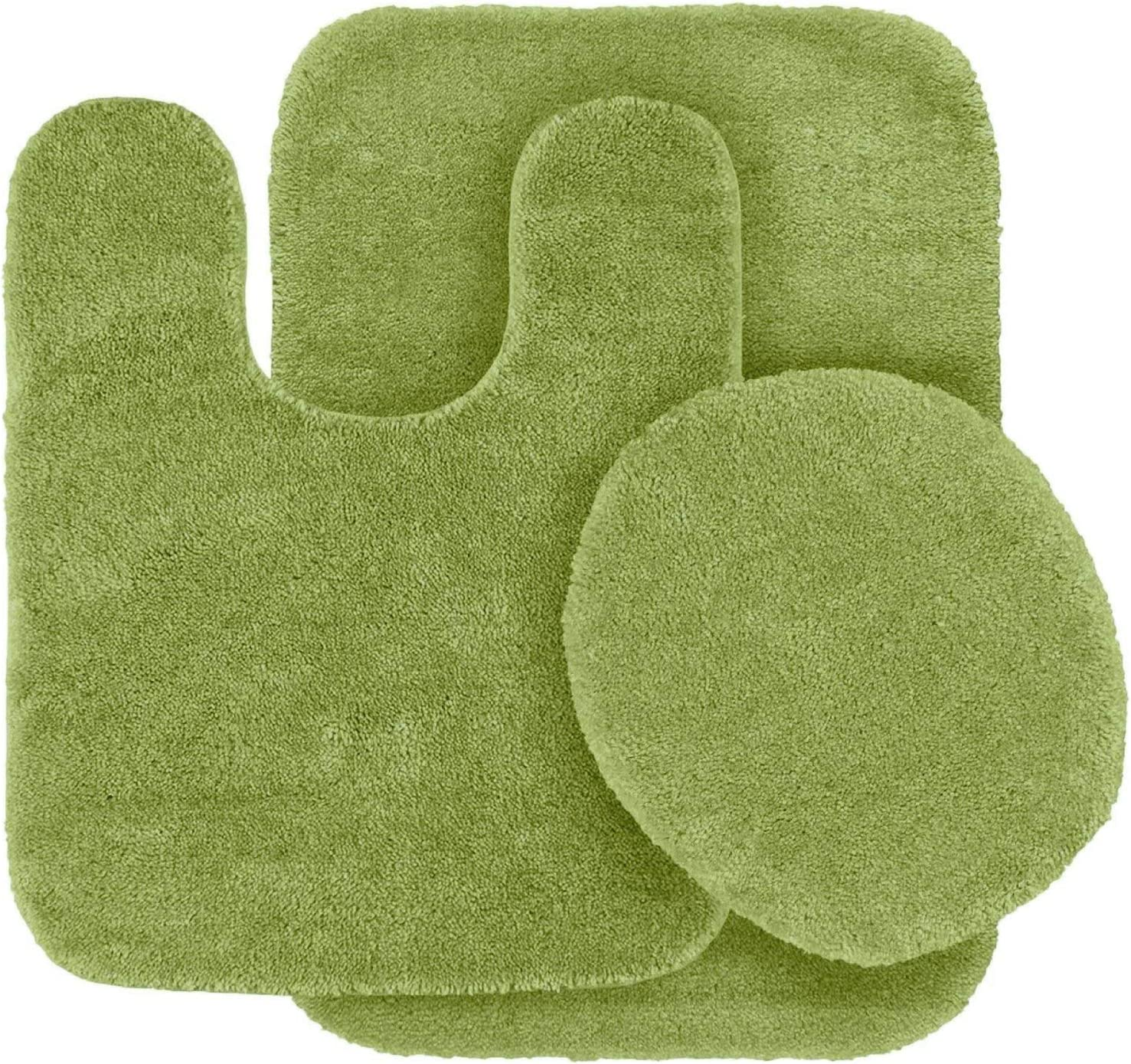 Better Home Style 3 Piece Bathroom Rug Set Bath Rug, Contour Mat, & Lid Cover Non-Slip with Rubber Backing Solid Color (Lime / Sage Green)