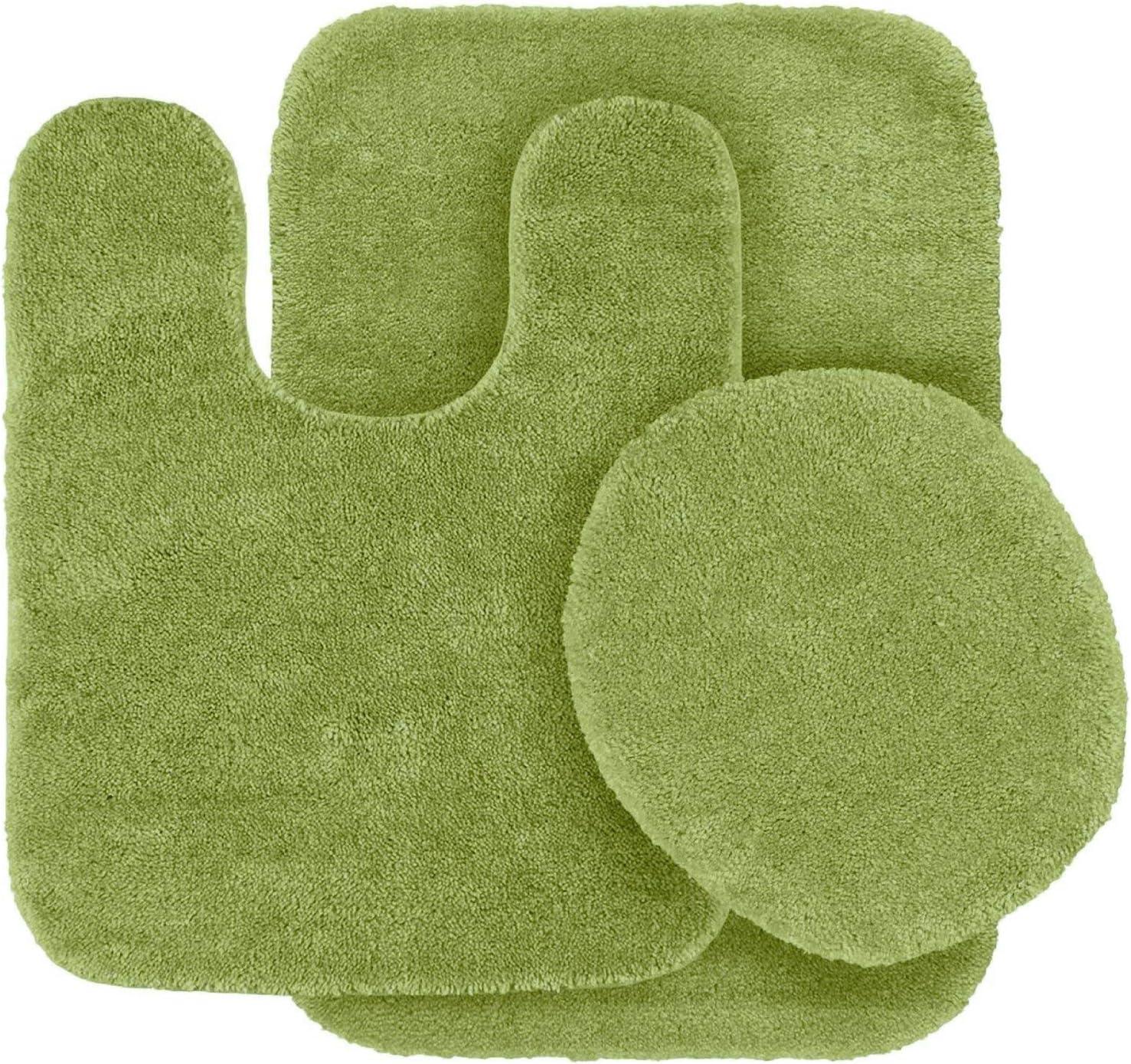 3 pc Solid Sage Green Bathroom Rug Set Bath Mats Bath Set Super Soft Anti Slip Soft Mats New
