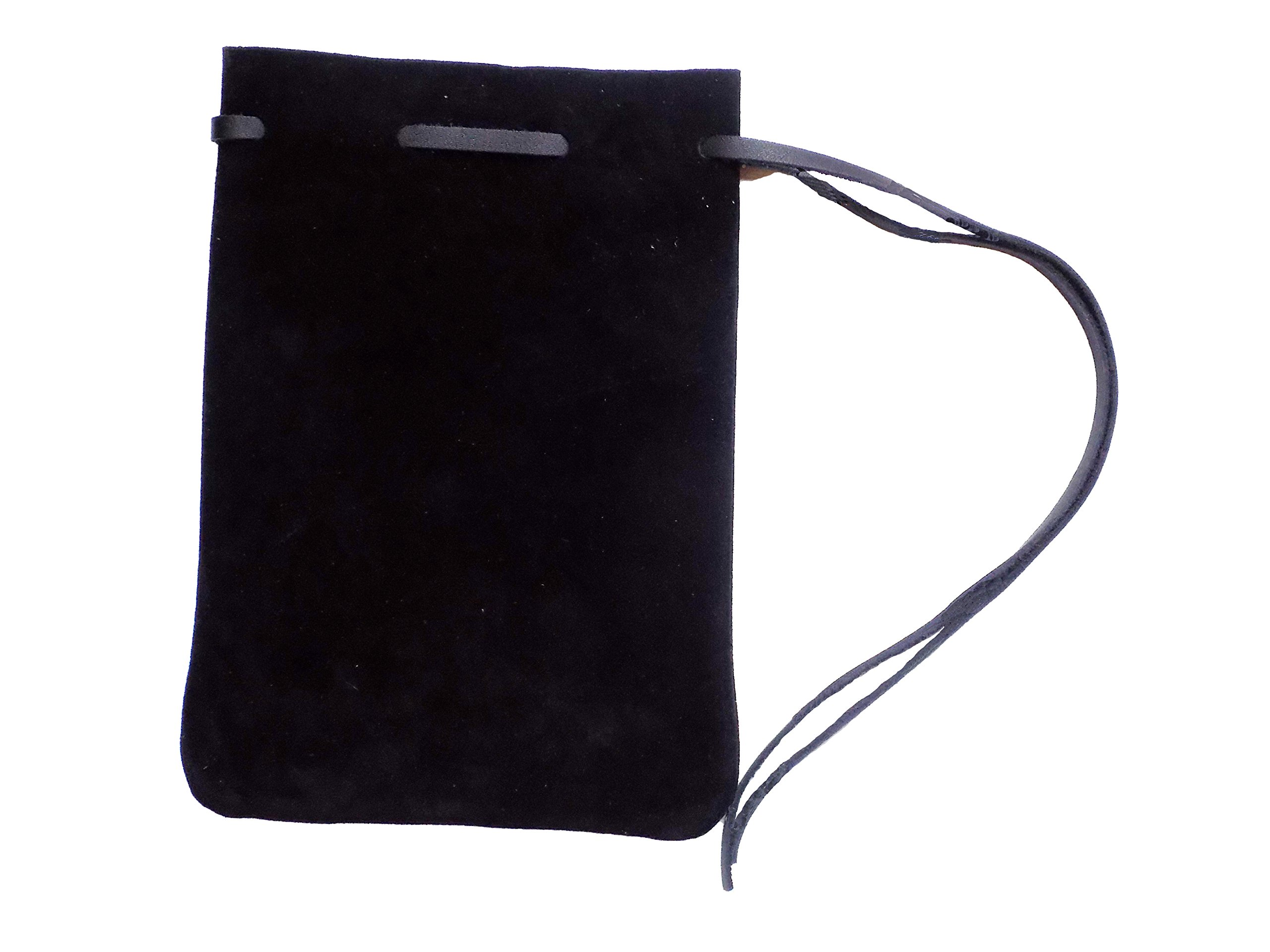 Large Drawstring Leather Pouch (Suede Black)