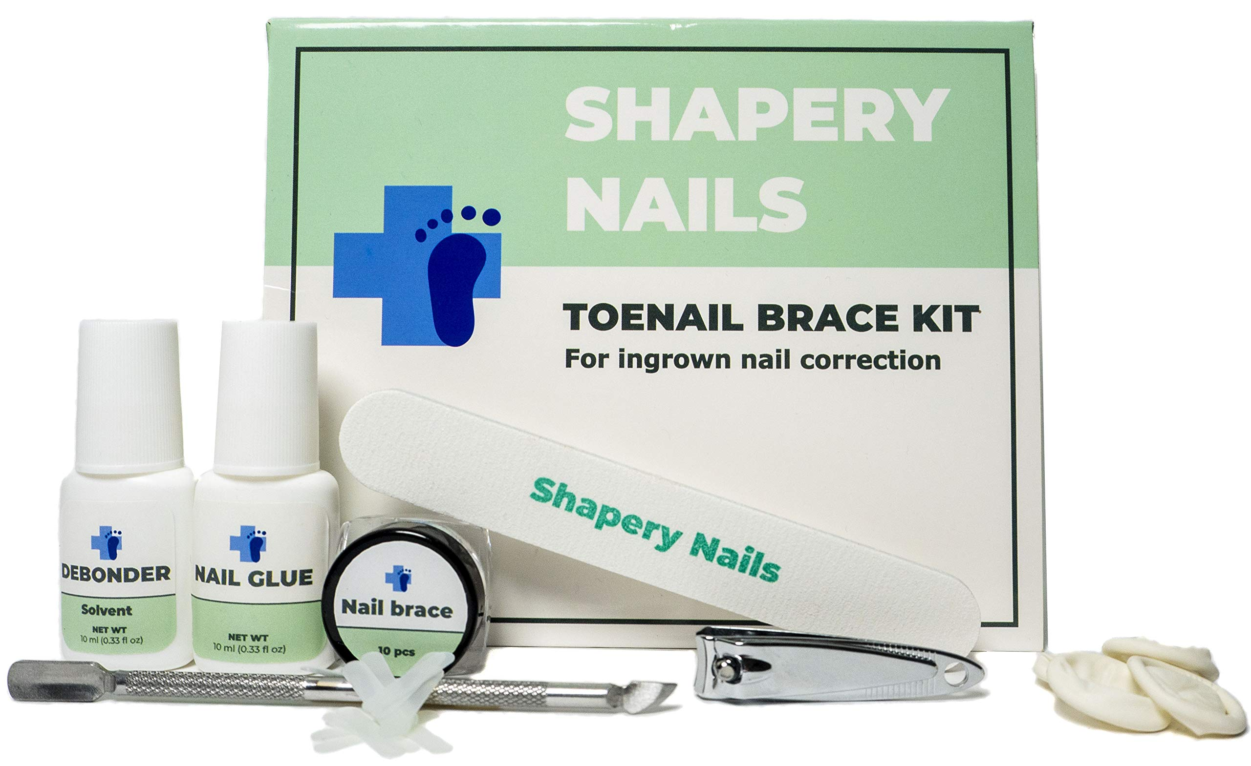 All you need - ingrown toenail removal home treatment kit by Shapery Nails. 10 Toenail braces, nail clippers to outgrow and lift ingrown nails. Pedicure tools for quick nail curvature correction. by Shapery Nails