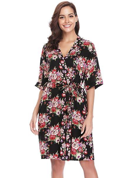 Aibrou Kimono Mujer Pijama Bata Corto Ropa de Dormir Camison Verano Algodon Sexy Batas y Kimonos Estampado Floral: Amazon.es: Ropa y accesorios