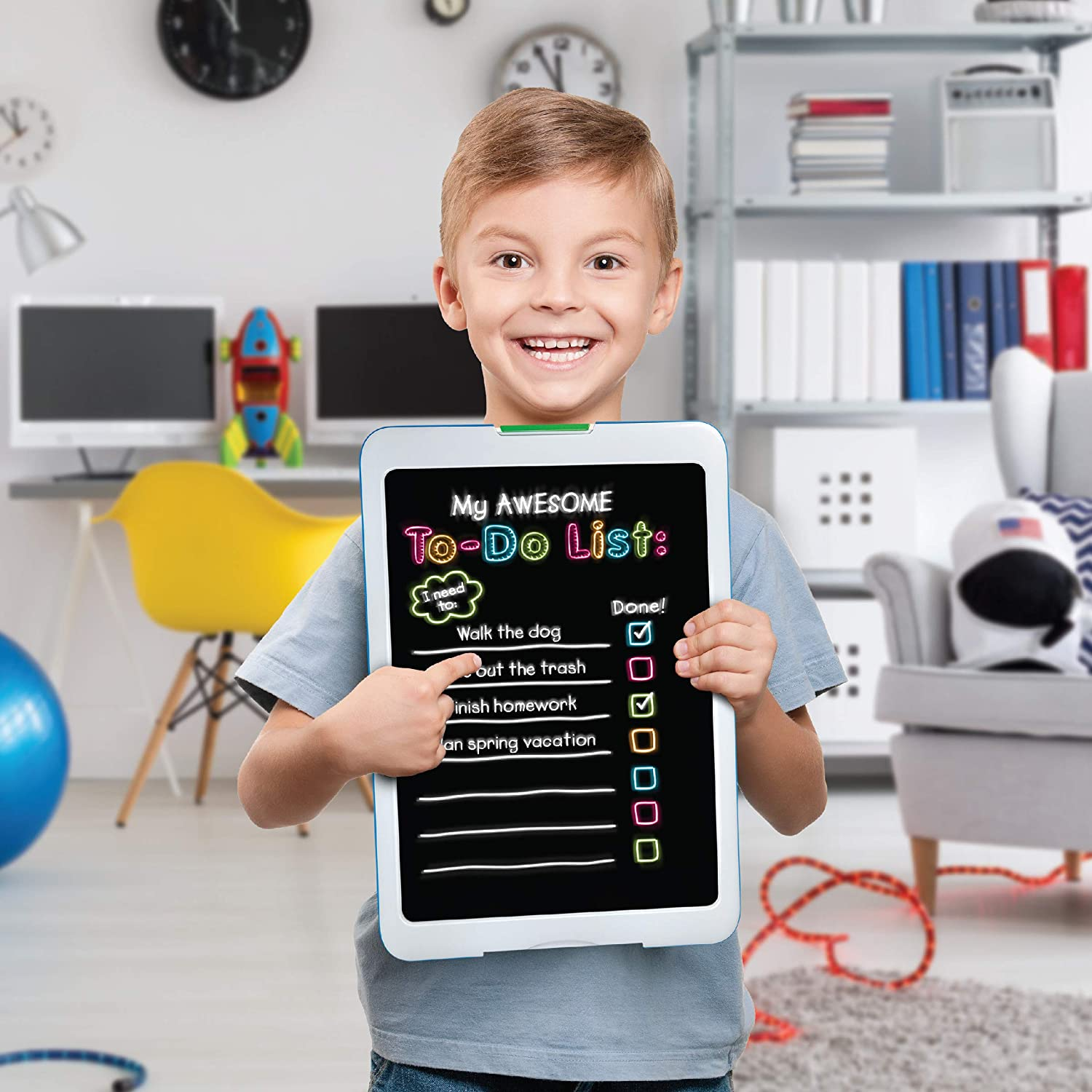Discovery Kids Neon Glow Drawing Easel with Color Markers and 6 Light Modes