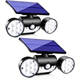Upgrade Solar Motion Sensor Lights Outdoor, Super Bright LED Lamp IP65 Waterproof 360° Adjustable Solar Powered Wall Light Du