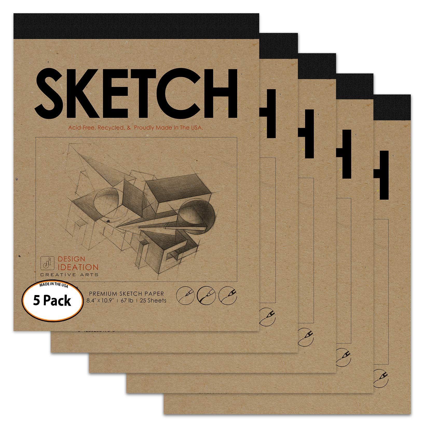 Premium Paper Sketch Pad for Pencil, Ink, Marker, Charcoal and Watercolor Paints. Great for Art, Design and Education. (Jumbo 8.5'' x 11'') (5 Pads)