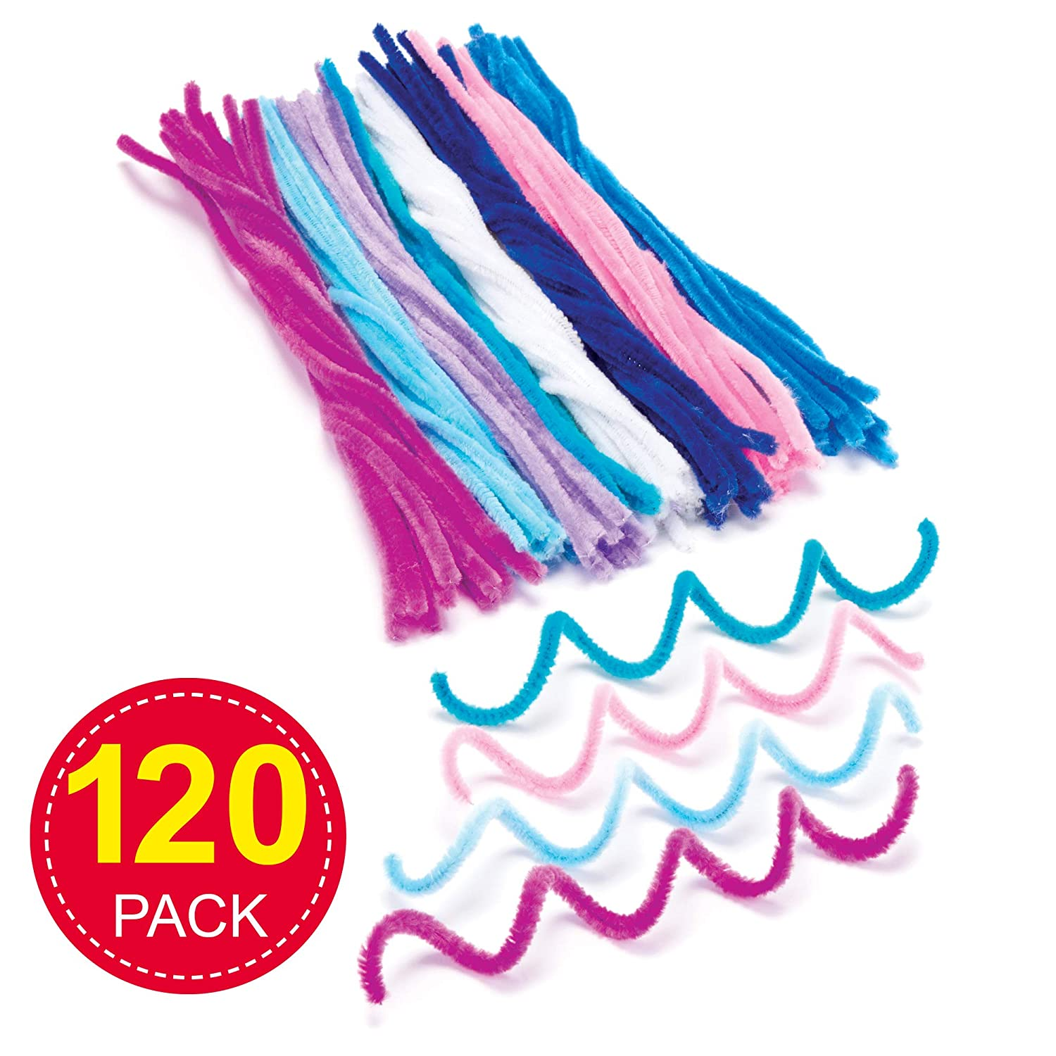 Craft Embellishments Pack of 120 Baker Ross AX696 Pipe Cleaners Ideal for Winter Arts and Crafts Projects for Kids