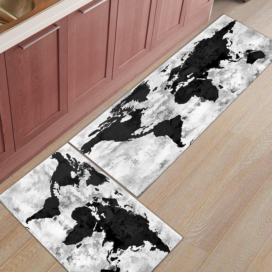 Infinidesign 2 Piece Kitchen Rubber Backing Non-Slip Bath Rugs Runner Doormat Set - Retro Monochrome Wood Grain World Map Runner Carpet Set - 23.6''x35.4''+23.6''x70.9''