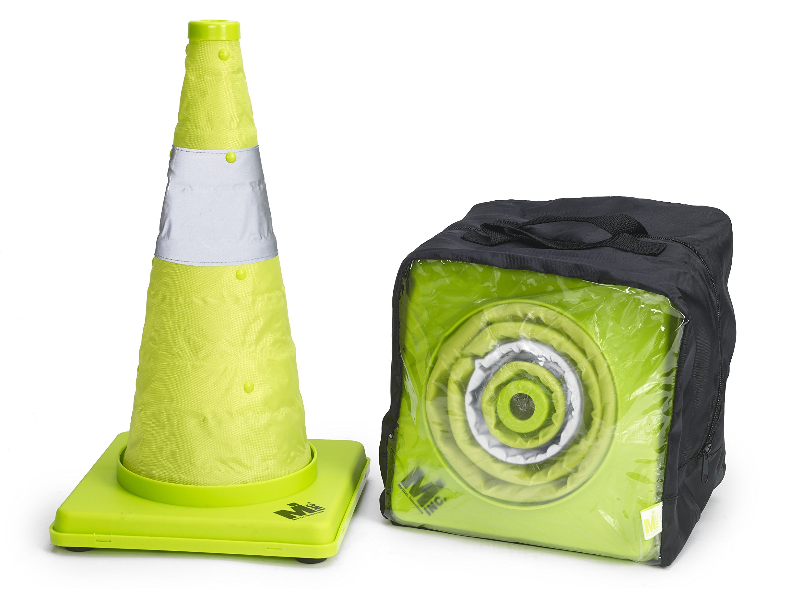 Mutual Industries 17712-4-18 Collapsible Reflective Traffic Cone with Inside Light, 18'' x 10'' x 10'', Lime (Pack 0F 4)