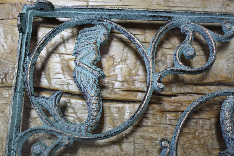 12 Cast Iron NAUTICAL MERMAID Brackets Garden Braces Shelf Bracket PIRATES Ship