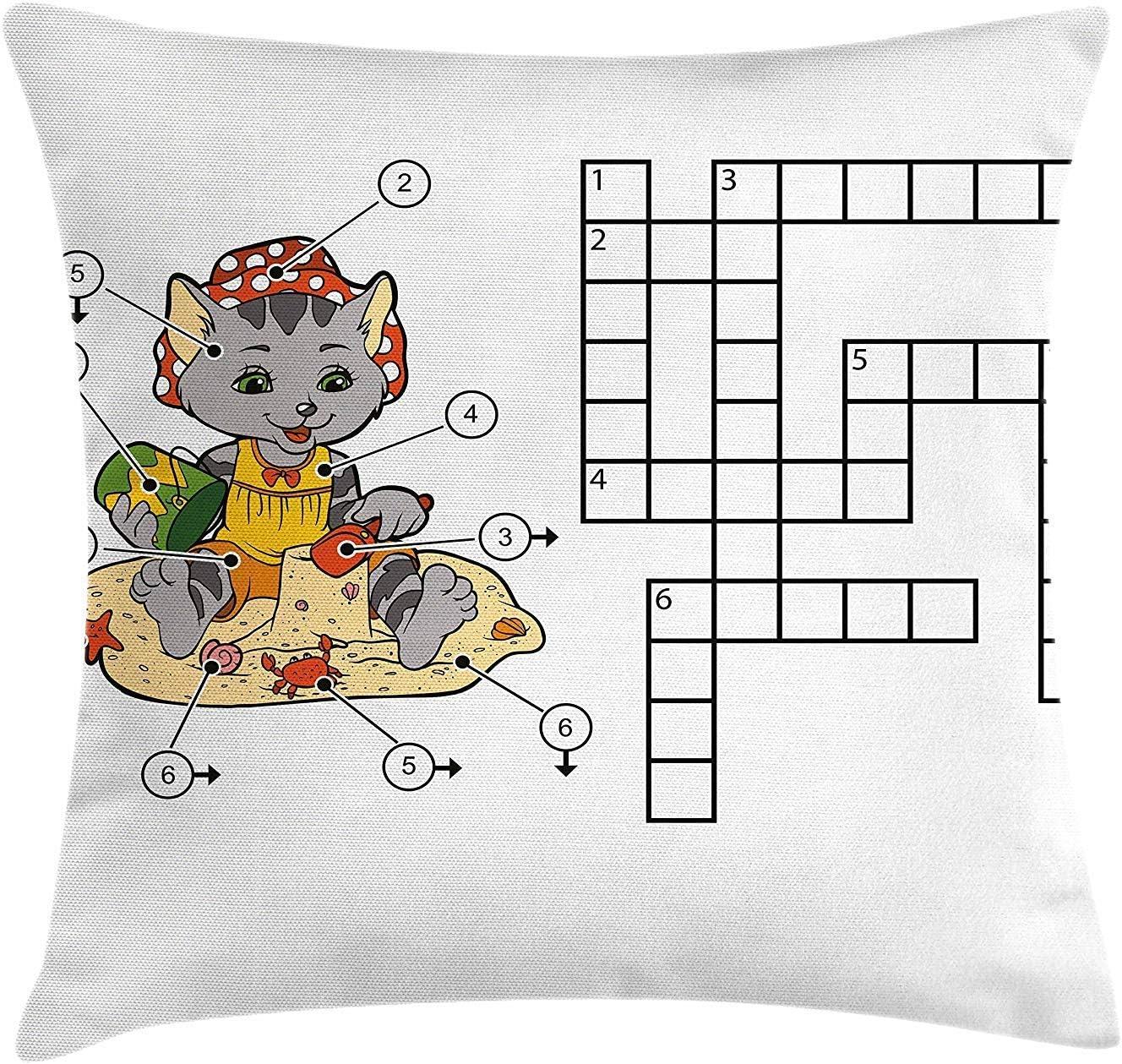 Pillow Cushion Cover Juego de crucigramas para niños Lindo Gato en ...