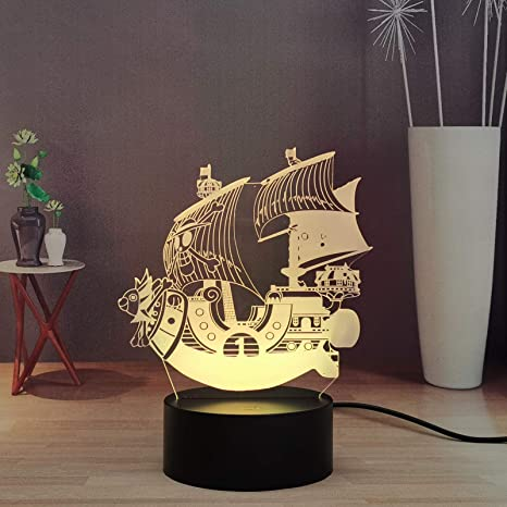 Amazon Com Japanese Anime One Piece Going Merry Led Kids Night Light Touch Remote Bedroom Decor Light Cool Night Lamp For Child Boys Table Lamp 3d Home Improvement