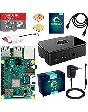 ABOX Raspberry Pi 3 Modèle B Plus (3 B+) Starter Kit [ Version Dernière ] 32 Go Classe 10 SanDisk Micro SD Carte, 5V 3A Alimentation Interrupteur Marche/Arrêt Boîtier Noir