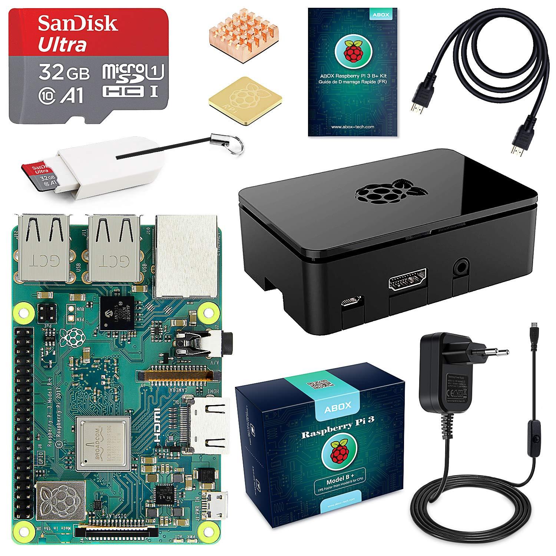 ABOX Raspberry Pi 3 Modèle B Plus (3 B+) Starter Kit [ Version Dernière ] 32 Go Classe 10 SanDisk Micro SD Carte, 5V 3A Alimentation Interrupteur Marche/Arrêt Boîtier Noir product image