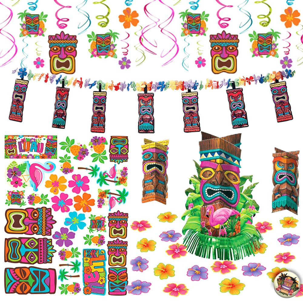 Tiki Tropical Luau Summer Themed Party Decoration Party Pack Includes Hanging Swirl Decorations, a Garland, a Table Centerpiece with Small Cutouts, and Tiki Themed Cutouts