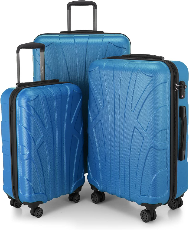 SUITLINE - Juego de 3 Maletas, Maleta de Viaje Trolley, Maletas de Carcasa Dura, TSA, (55 cm, 66 cm, 76 cm), 100% ABS, Mate, Azul Cian