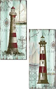 Antique La Mer | Lovely Nautical Ocean Striped Lighthouse Panels by Tre Sorelle Studios; Two 8x18in Paper Prints