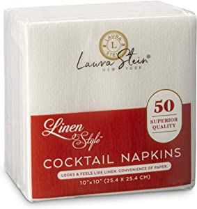 Laura Stein Linen Style White Cocktail Napkins (50 Pack) | Disposable Napkins for Beverages, Soft & Highly Absorbent Napkins for Parties, Wedding Receptions, Restaurants, Events or Home