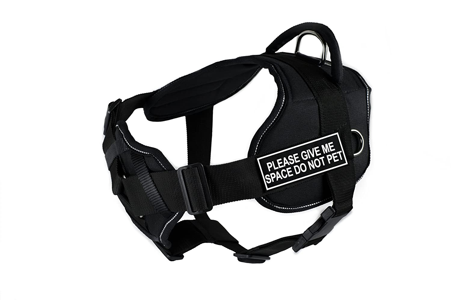 Dean & Tyler Fun Harness with Padded Chest Piece, Please Give Me Space Do Not Pet, Large, Black with Reflective Trim