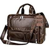 Leather Bag,Berchirly Vintage Expandable Men's Genuine Leather Briefcase Office Business Messenger Bag fits 15.6Inches Computer Notebook Tablet Ipad Air Wallet Purse Umbrella
