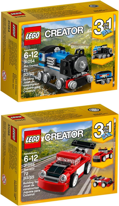 LEGO Creator Blue Express Red Racer Building Kit Bundle (143 Piece)