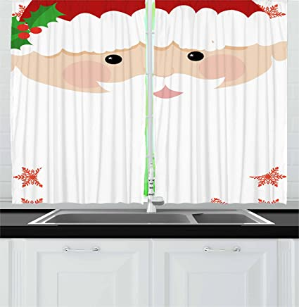 ambesonne kids christmas kitchen curtains cartoon face of santa with pink cheeks white beard and - Christmas Kitchen Curtains