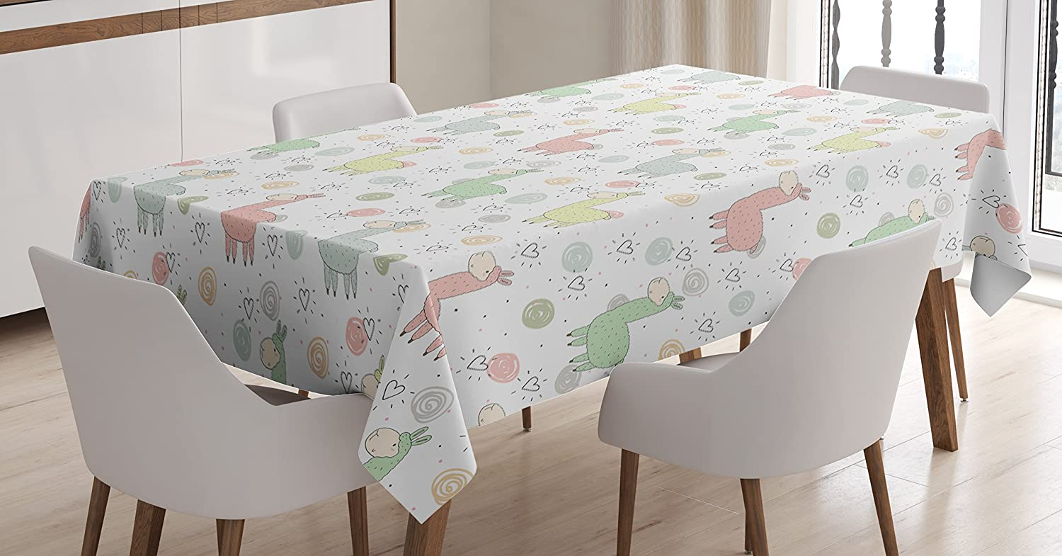 Ambesonne Llama Tablecloth, Colorful Pattern of Llamas with Doodle Style Circles and Heart Shapes Cartoon Style, Rectangular Table Cover for Dining Room Kitchen Decor, 52