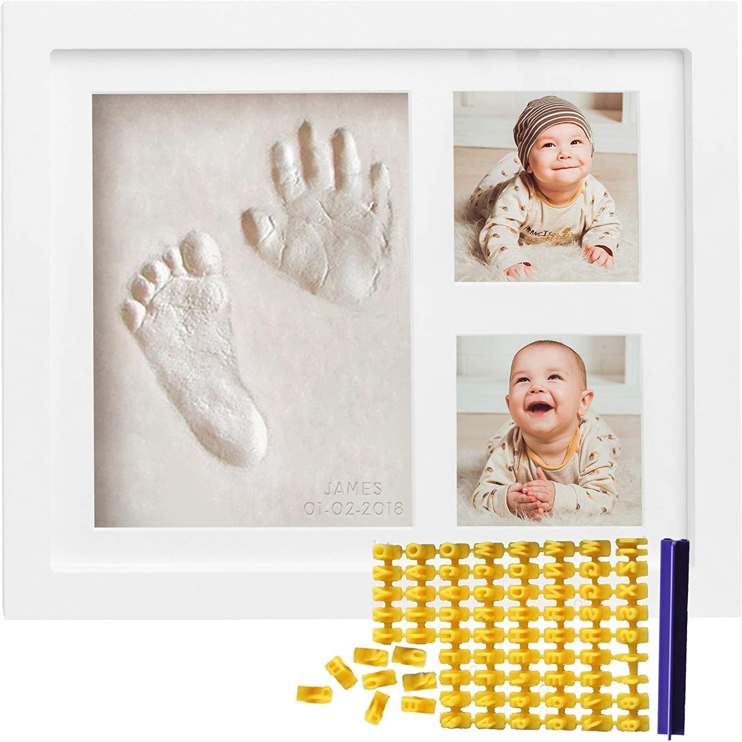 Baby Handprint Kit & Footprint Kit (FREE Date & Name Stamp) Clay Picture Frame for Newborn - Hand Impression Photo Keepsake - Best Shower Gifts Set for Girls and Boys - Unique White Foot Print No Mold Co Little