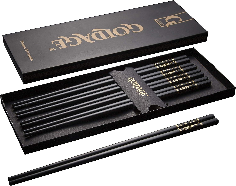 HoneySheep 5-Pairs Fiberglass Chopsticks Reusable Chopsticks Dishwasher Safe